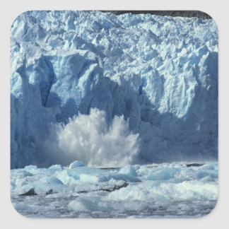 Newly-calved iceberg splashing into chilly square sticker