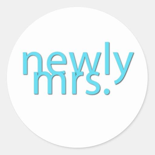 newly mrs / blue sticker