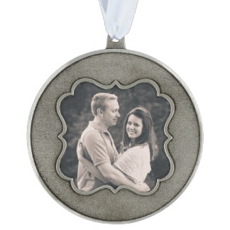 Newly Wed Custom Photo Ornament Scalloped Pewter Ornament