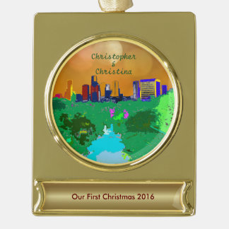 Newly Wed Houston Skyline First Christmas Custom Gold Plated Banner Ornament