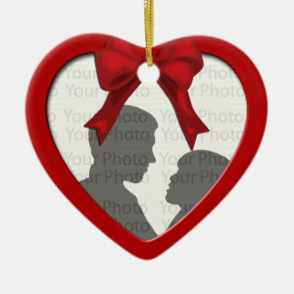 Newly Weds Christmas Bells Photo Heart Ornament
