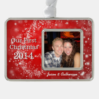 Newly Weds First Christmas Photo Ornament Silver Plated Framed Ornament