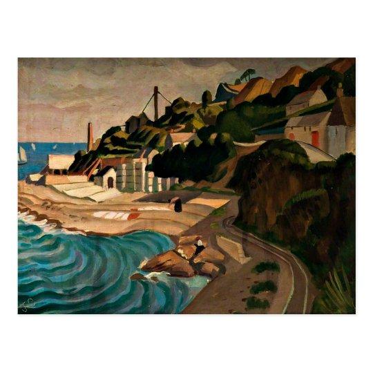 Newlyn, Looking towards Mousehole - Currie art Postcard