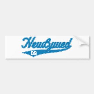 Newlywed 09 Baseball Script Blue Bumper Stickers