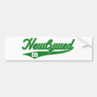 Newlywed 09 Baseball Script Green Bumper Stickers