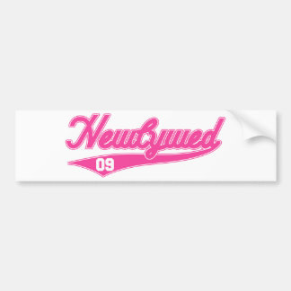 Newlywed 09 Baseball Script Pink Bumper Stickers