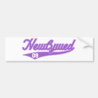 Newlywed '09 (Baseball Script Purple) Bumper Sticker