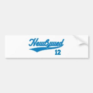 Newlywed 12 (Baseball Script Blue) Bumper Stickers