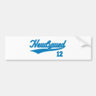 Newlywed 12 Baseball Script Blue Bumper Stickers