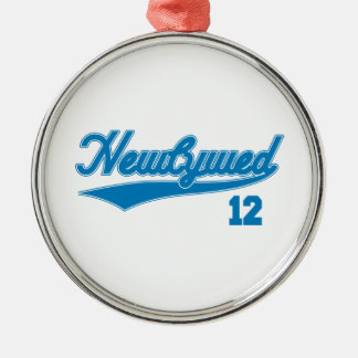 Newlywed 12 (Baseball Script Blue) Christmas Ornament