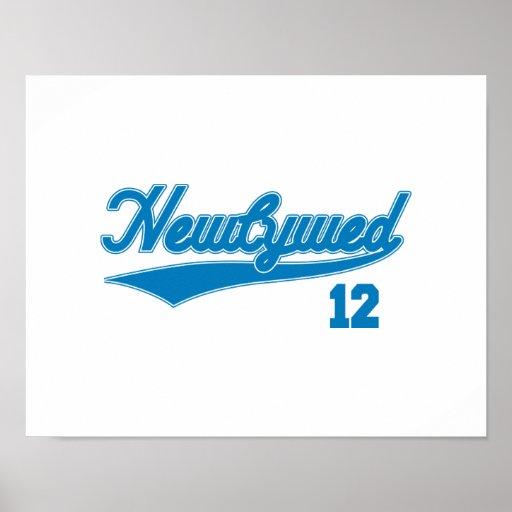 Newlywed 12 (Baseball Script Blue) Print