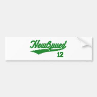 Newlywed 12 Baseball Script Green Bumper Stickers