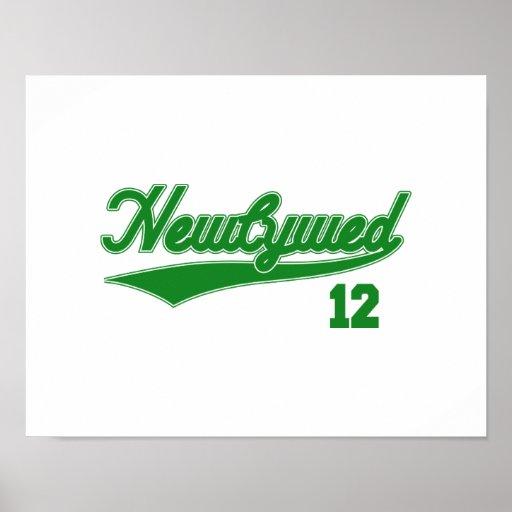 Newlywed 12 (Baseball Script Green) Print