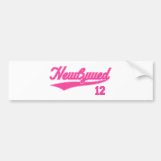 Newlywed 12 (Baseball Script Pink) Bumper Stickers