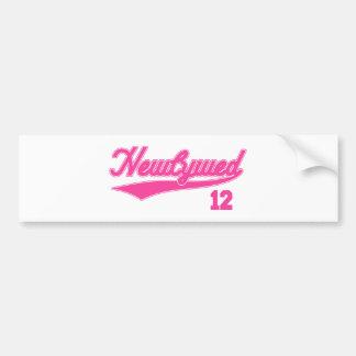 Newlywed 12 Baseball Script Pink Bumper Stickers