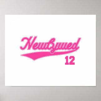 Newlywed 12 (Baseball Script Pink) Print