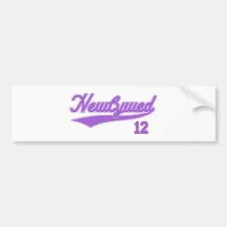 Newlywed 12 Baseball Script Purple Bumper Sticker