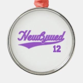 Newlywed 12 (Baseball Script Purple) Christmas Ornament