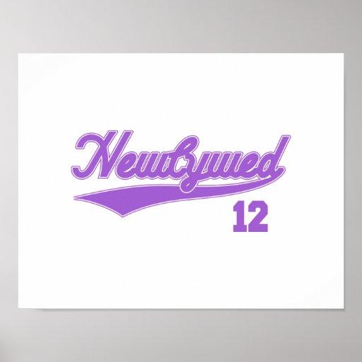Newlywed 12 (Baseball Script Purple) Posters