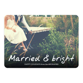 Newlywed Christmas Married Bright Photo Holiday Card