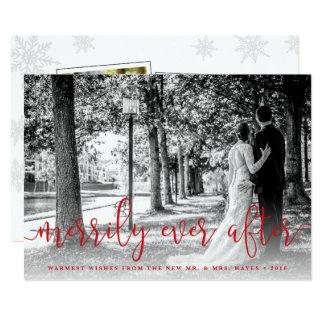 Newlywed Christmas Photo Card w/ Thank You Backer