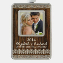 Newlywed First Christmas Photo Rustic Wood Lace