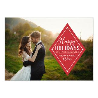 Newlywed Happy Holidays Diamond Photo Card