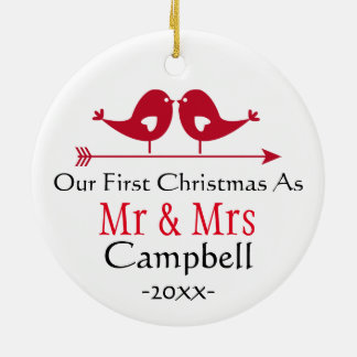 Newlywed Holiday Ornament- Christmas - LoveBirds Christmas Ornament