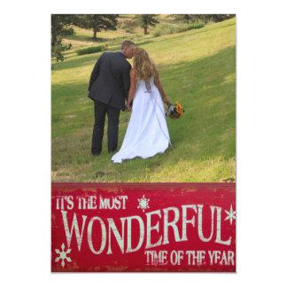Newlywed Most Wonderful Time Template Christmas 13 Cm X 18 Cm Invitation Card