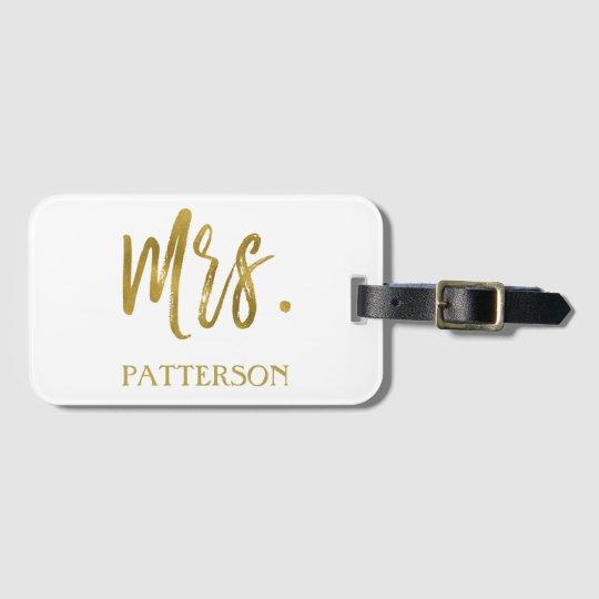 Newlywed Mrs. Last Name Luggage Bag Tag