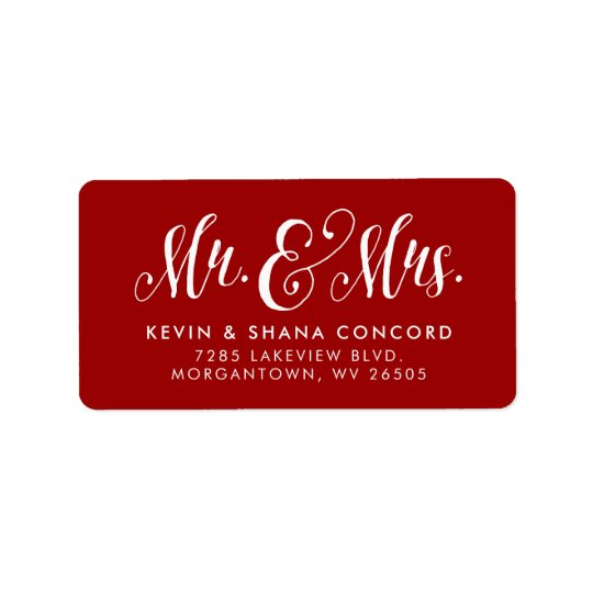 Newlywed return address label