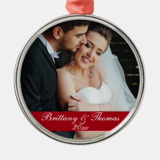 Newlywed Wedding Photo Year Ornament R
