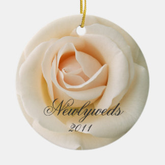 Newlyweds Cream Rose Christmas Ornament