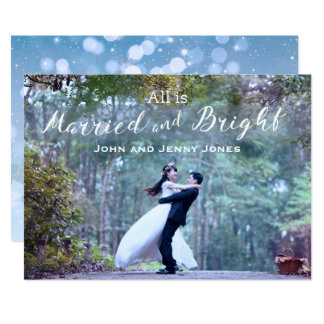 Newlyweds First Married Christmas 13 Cm X 18 Cm Invitation Card
