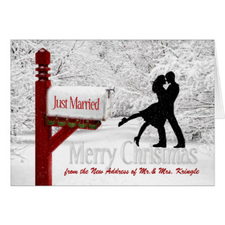 Newlyweds Just Married New Address | Christmas Greeting Card