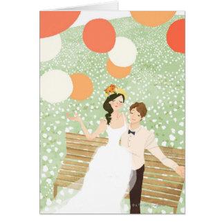 Newlyweds on a Garden Branch Card
