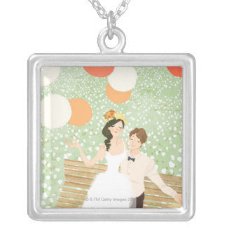 Newlyweds on a Garden Branch Silver Plated Necklace