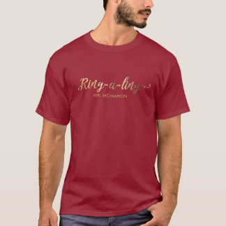 Newlyweds Ring-e-ling First Christmas Gold Holiday T-Shirt