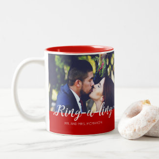 Newlyweds Ring-e-ling First Christmas Holiday Two-Tone Coffee Mug