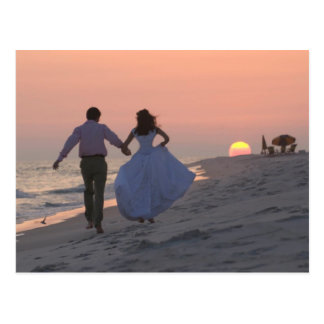 Newlyweds Running into the Sunset, the Future Postcard