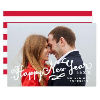 Newlyweds Script Happy New Year Holiday Photo Card 13 Cm X 18 Cm Invitation Card