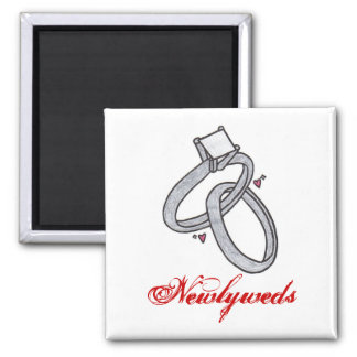 Newlyweds Square Magnet
