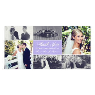 Newlyweds Thank You Photo Card Lavender Purple