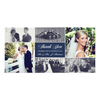 Newlyweds Thank You Photo Card Navy Blue