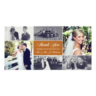 Newlyweds Thank You Photo Card Orange Bronze