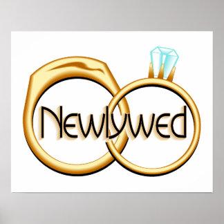 Newlyweds Wedding Rings Posters