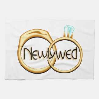 Newlyweds Wedding Rings Tea Towel