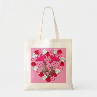 Newlyweds with Cupids in Rose Heart Budget Tote Canvas Bag