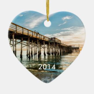 Newport Beach Balboa Pier Ceramic Heart Decoration