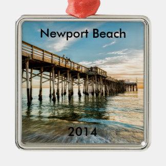 Newport Beach Balboa Pier Silver-Colored Square Decoration